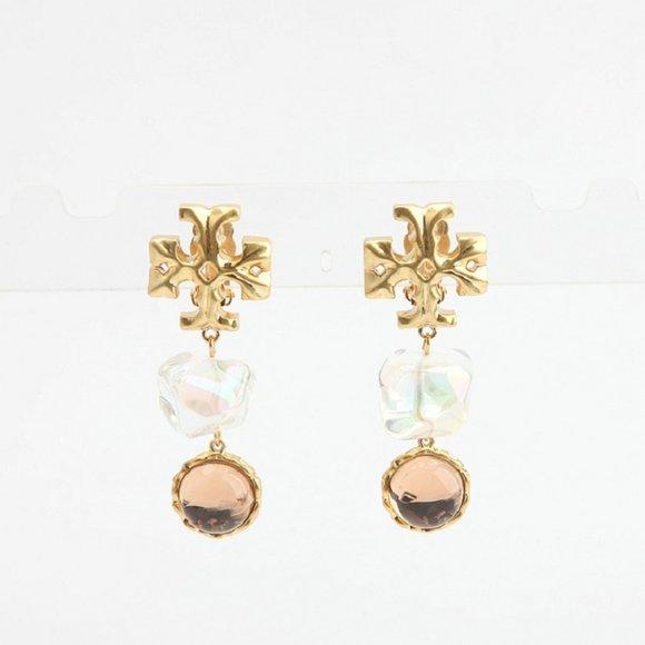 Tory Burch Roxanne Double-Drop Earring Clear/Pink